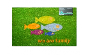 Door matt Fish Family, kokosmat 45x75cm