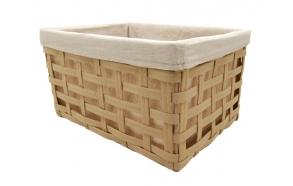 Woven basket Tuti w/linen lining, cream, 43x33x24cm
