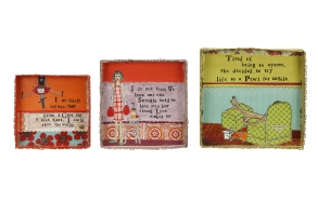 "12"" & 10"" & 8-1/2"" Square Tin Trays w/ Sayings, Set of 3 ©"