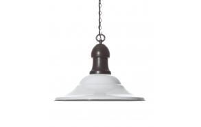 "21"" Round x 17""H Metal 2-Tone Hanging Pendant Lamp, White Enamel & Bronze Finish, Imported"