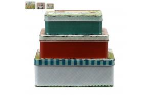 metallist ,kaunistatud karp, 3 erinevat suurust, L21cm, 18cm & 15cm
