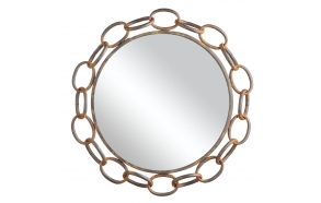 "20-7/8"" Round Metal Chain Framed Mirror, Rust Finish"