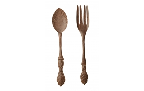 "6-1/2""L x 38""H Metal Silverware Spoon & Fork, Rust Brown Finish, 2 Styles"