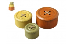 "11"" & 9"" & 7-1/4"" Round Metal Button Boxes, Set of 3"