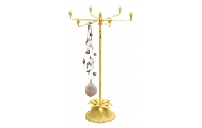 "17-1/2""H Iron  Jewelry Holder w/ Flower Base, Yellow"