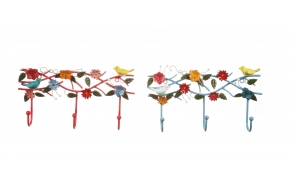 """14-1/4""""L x 2-1/2""""W x 7-1/2""""H Metal Hand-Painted Wall Hook Plaque w/ Bird & Flower, 2 Colors"""