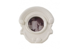 "4"" x 4"" Dolomite Photo Frame, 7-1/4""L x 8""H, White"