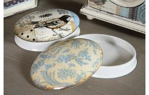 "6-1/4""L Stoneware Oval Box w/ Bird & Damask Design, 2 Styles ©"