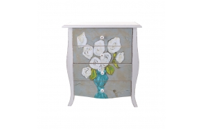 "21-3/4""L x 12-1/4""W x 24""H Wood & MDF Low Boy w/ 4 Drawers & Floral Image ©"