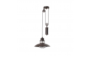 CEILING LAMP WINCH 1L E27 60W RUSTIC, METAL+GLASS