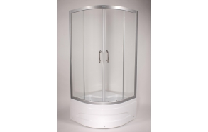 Shower cabin ,round,aluminium frame, 5 mm , clear glass