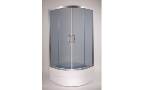 Shower cabin ,round,aluminium frame, 5 mm , grey glass