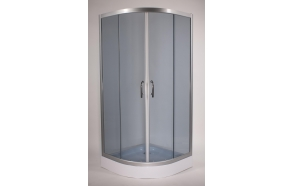 Shower cabin ,round,aluminium frame, 5 mm , grey glass