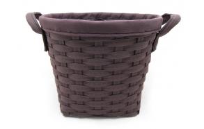 Woven basket Tora w/handles, dark brown, d36xh29cm