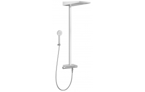 "THERMOSTATIC SHOWER COLUMN ""SETA"" WITH SOLID STONE SHELF3 FUNTIONS: RAIN 153X153 MM., CASCADE, Ø 100 MM."