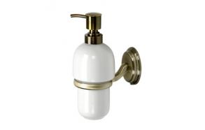 AMBER ceramic soap dispenser with holder,bronze