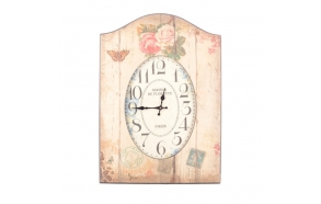 OVAL WALL CLOCK IN FRAME WITH FLOWERS