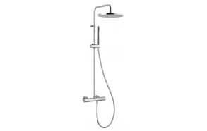 """THERMOSTATIC SHOWER COLUMN """"COOL SP"""" , 25 cm top shower, thermostatic faucet w metal handle and ceramic diverter, silver pvc hose, hand shower"""