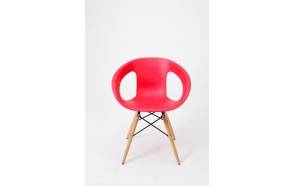 chair with wooden feet,red