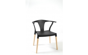 chair with wooden feet,black