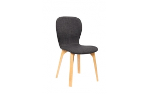 chair, fabric+wood,grey
