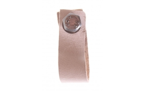 dark beige leather knob, 6 cm