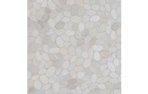Sliced pebble, White, Interlock