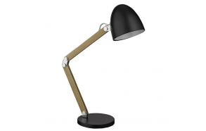 desk lamp black+wood, E14,1X40W