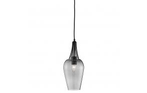 ceiling lamp black+glass, E27, 1X60W