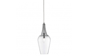 ceiling lamp chrome+glass, E27, 1X60W