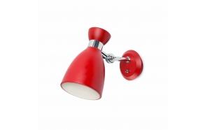 wall lamp Retro, red, metal,1 x E14 20W