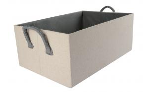 Box linen w handles, s3, 23x14xh12cm, beige