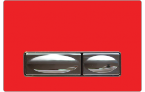 flush plate Design, red, metal+glass