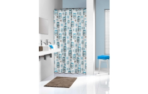 OWL  shower curtain vinyl,blue,180x200cm
