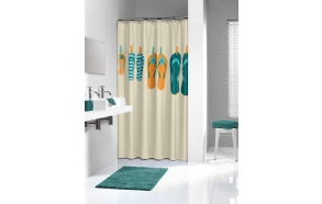 SLIPPERS shower curtain textile,orange 180x200