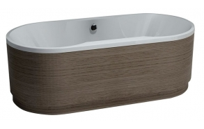 freestanding acrylic bathtub in wooden skirt, 180x85 cm