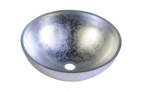 MURANO ARGENTO 40x13cm glass basin, silver