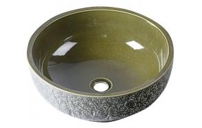 keraamiline valamu tööpinnale Priori, oliiviroheline, reljeefse ornamendiga