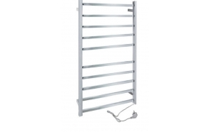 Electric towel rail, square 1160x620mm, 120W, stainless steel