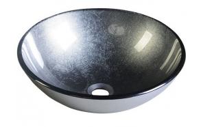 SKIN glass washbasin diameter 42cm, mettalic gray