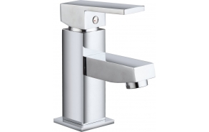 SMALL basin mixer without pop up waste, 155 mm, chrome