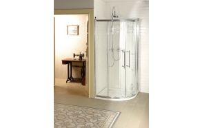 Shower enclosure ANTIQUE 90 cm, chromed fittings,pattern,clear glass