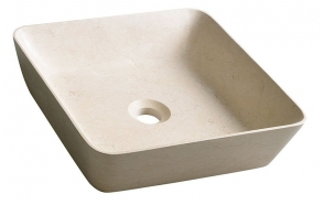 BLOK 14 Stone Washbasin 40x40x10cm, matt beige