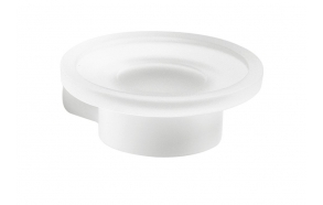 PIRENEI Soap Dish, white matt/glass satin