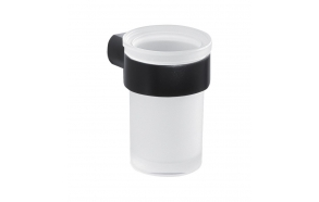 PIRENEI Tumbler Holder, black matt/glass satin