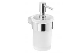 PIRENEI Soap Dispenser, chrome/glass satin