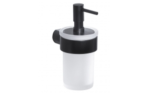 PIRENEI Soap Dispenser, black matt/glass satin