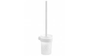 PIRENEI Wall Hung Toilet Brush/Holder, white matt/glass satin