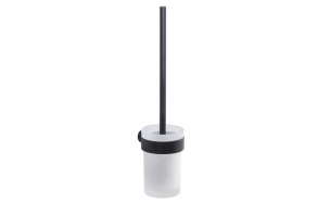 PIRENEI Wall Hung Toilet Brush/Holder, black matt/glass satin