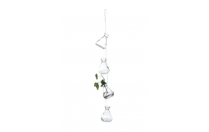 "30""H Hanging Glass Vases x 4"